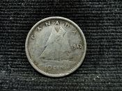 Canada, Silver (.800), George VI, 10 Cents 1943, Fair, AN174